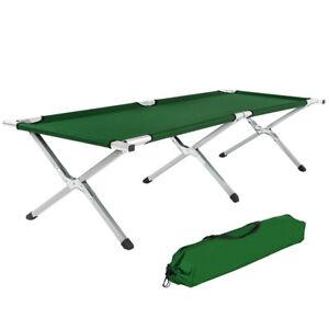 Lit de camp pliable XL 150kg lit d'ami camping jardin pliant + poche vert