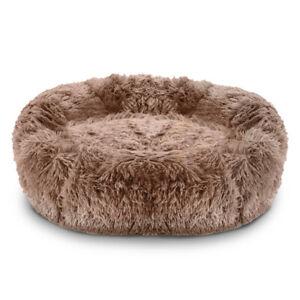 Pawamore Mink Brown 70cm Large Pet Calming Donut Cushion Warm Nest Cat Dog Bed