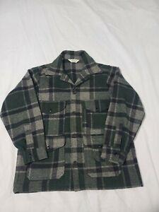 Vtg Woolrich Green Plaid Wool Hunting Jacket Coat (Game Pocket) Mens 42 - C187