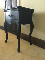 SOLID MAHOGANY FRENCH ITALIAN ORNATE MATT BLACK CABINET TABLES SIDE TABLE