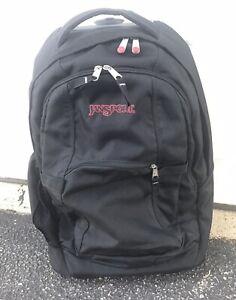 JanSport Driver 8 Wheeled Roller Backpack Black Laptop Sleeve Straps Luggage