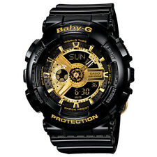 Casio Baby-G BA110-1A Goldtone Analog-Digital Black Resin Ladies Watch