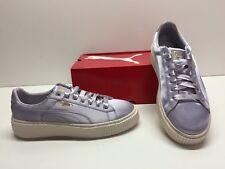 3b938dfe28 Puma Cesta Plataforma Satén Plateado Metálico Zapatos tenis de moda para  mujer 9.5
