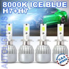 New listing 4x H7+H7 Ice Blue 8000K Led Headlight Bulbs Conversion 200W 40000Lm Hi-Low Beam