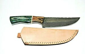 """10"""" Hand Crafted & Forged KK14 Damascus Fixed Blade Knife, Leather Sheath"""