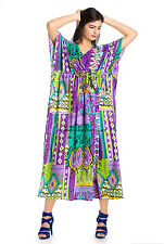 Boho Gypsy Caftan Kaftan Women's Ikat Casual Maxi Long Dress Plus Size Purple