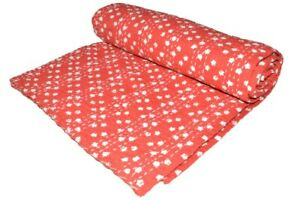 Indian Handmade Red Star Block Cotton Kantha Quilt Throw Blanket Bedspread