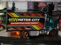 2018 HW METRO Design HIWAY HAULER 2☆teal/orange; AUTOMOTIVE☆LOOSE Hot Wheels☆