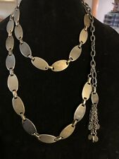 "Vintage Metal Chain Belt Adjustable Necklace 46"" Long Oval Tassel"