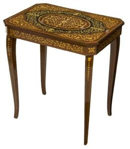 Table, Side, Italian Marquetry Musical, Charming, Vintage / Antique