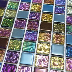 Iridescent Mix Glass Square Mosaic Tiles Walls Floors Bathrooms Kitchens