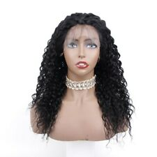 """30% Off! 18"""" Afro Jerry Curl #1 Jet Black 100% Human Remy Hair Lace Front Wig"""