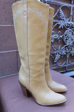 BCBGirls BOOTS SHOES Leather Western TALL Boots Womens Size 6 M TAN YELLOW