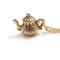 TEA pot necklace Alice in wonderland TEAPOT TIME cup charm gold mad hatter party