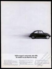 1968 VW Beetle classic car photo Automatic Stick Shift 13x10 vintage print ad