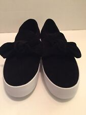 Rebecca-Minkoff-Stacey-Black Denim-Bow-Platform-Sneakers- Shoes Size-8.5 M (e9)