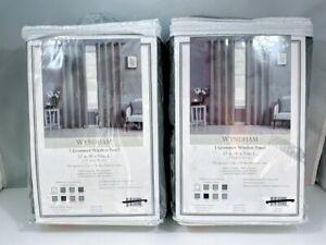 "Wyndham Grommet Window Curtain Panels, Charcoal Gray 52"" x 95"" ea,, 2 PANELS"