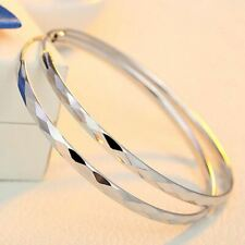 *UK Shop* 925 SILVER PLT LARGE THIN ROUND CIRCLE PATTERN HOOPS EARRINGS BIG 60MM