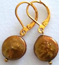 ' BEAUTIFUL PAIR OF SILVER PLATED GOLDEN NATURAL COIN PEARL DUNGLE EARRINGS