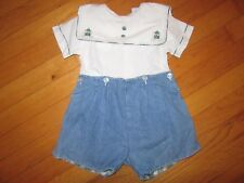 Rosey Kids Embroidered Bears Shirt Buttons Onto Reversible Shorts Size 24 Months