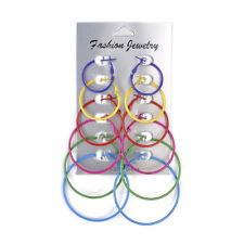 Big Circle Fashion Charm Simple Jewelry 6 Pairs/Set Women Hoop Earrings Colorful