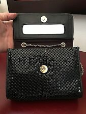 Whiting And Davis Mesh Black Purse Mirror Gold Tone Leather and Metal Chain