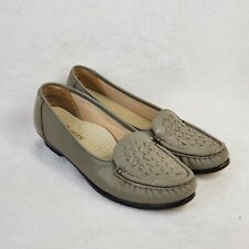 Soft Spot All Day Comfort Taupe Woven Leather Loafer Made in USA Size 9N