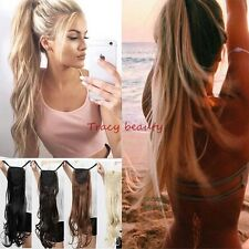US 100% Soft New Clip In Natural Hair Extensions Pony Tail Wrap Around Ponytail