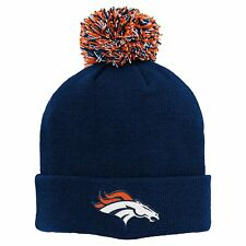 Denver Broncos NFL Boy's 8-20 Navy Cuffed Knit With Pom Winter Caps/Hats