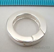 1x BRIGHT STERLING SILVER PLAIN ROUND SPRING LOBSTER CLASP BEAD 15.5mm #2366