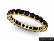1.25Ct Round Black Diamond Shared Prong Eternity Band Ring 14k Yellow Gold AAA