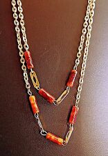 """Vintage Faux Amber Barrel Bead & Gold Tone Chain Necklace - Lucite - 1960s - 47"""""""