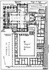 """St. Mark's e il """"Doges Palace. Floor Plan. VENEZIA 1953 vecchio vintage carta"""