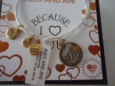 Alex and Ani HAND IN HAND II Two Tone Bangle Russian Silver W/Tag Card & Box