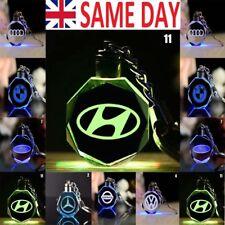 New LED Car Logo Keychain Fairy Light Changing Keyring Car Key Chain Keyfob UK