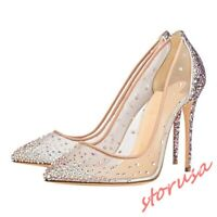Womens Rhinestones Mesh Lace Pointed Toe High Heels Stilettos Clear Party Shoes
