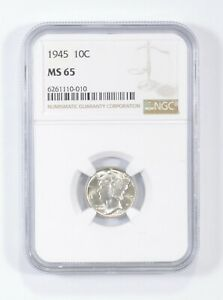 MS65 1945 - Mercury Silver Dime - NGC Graded *661