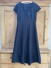 Boden Short Sleeve Black Linen Dress, Size 14