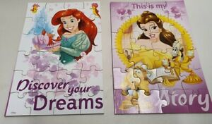 Disney World Ariel and Belle Wooden (MDF) Jigsaw Puzzles x 2 in Box Complete