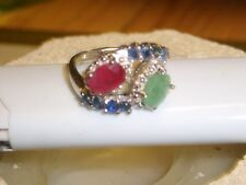 Smaragd Saphir Rubin Silber Ring verg.
