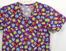 Handmade Scrub Top Size Small Christmas Print Purple Red Turquoise Holidays
