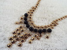 Goldtone Black Bead Fringe Bib Necklace (A53)