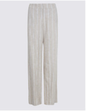 M&S COLLECTION STONE MIX LINEN BLEND STRIPED WIDE LEG TROUSERS