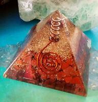 LARGE (65 MM)ORGONE RED JASPER CRYSTAL, QUARTZ,&COPPER ENERGY GENERATOR PYRAMID