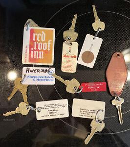 Lot of 8 Vintage Hotel Motel Key Fobs with Keys