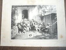 GRAVURE SALON DE 1842 SORTIE DE L'ECOLE EN TURQUIE