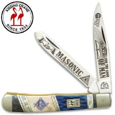 "Masonic 2020 Kissing Crane Large 4"" Two Blade Trapper Pocket Knife KC5581"