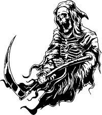 Grim Reaper Scythe Dr Death Monster Car Truck Window Laptop Vinyl Decal Sticker