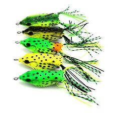 5PCS/Lot Large Frog Topwater Soft Fishing Lure Crankbait Hooks Bass Bait Tackle