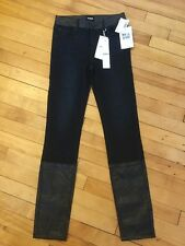 Hudson Jeans Girls Dark Wash Skinny Jeans W/ Fauz Leather Trim, Size 16, NWT!